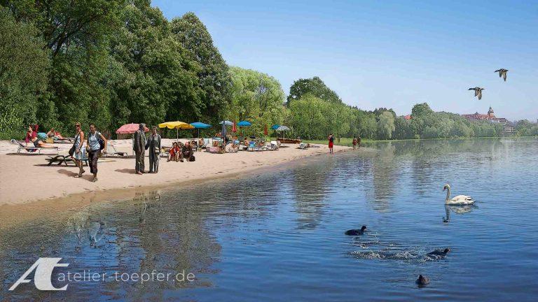 Illustration Konzeptdartellung: Geplanter Strand am Wörder See Nürnberg