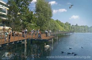 3D-Simulation eines geplanten Steges am Wöhrder See in Nürnberg