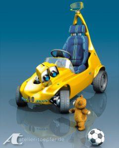 Fiktives Tretauto für Kinder / Roboterfahrzeug mit Teddy