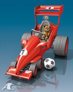 Fiktives Tretauto für Kinder / roter Rennwagen mit Teddy