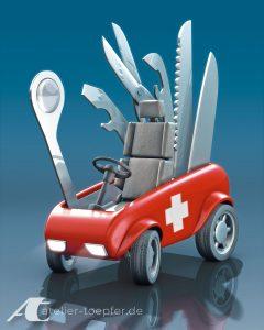 Fiktives Tretauto für Kinder / Schweizer Messer