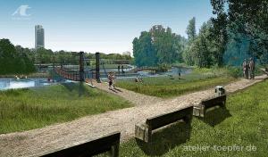 Illustration Konzeptdartellung Fussgänger Brücken am Wörder See Nürnberg