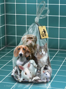 Illustration: Benutzte Labortiere mit Müll in einer Plastiktüte