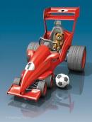 3D-Illustration Tretauto als Rennwagen mit Teddy und Ball