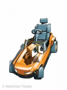 Konzeptentwurf zu einer 3D-Szene/ Spielzeug Tretauto / Kunde: CAETEC Messtechnik