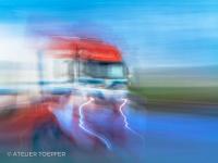 Lastwagen fotografischer Impressionismus, impressionistische Fotografie Slow Speed