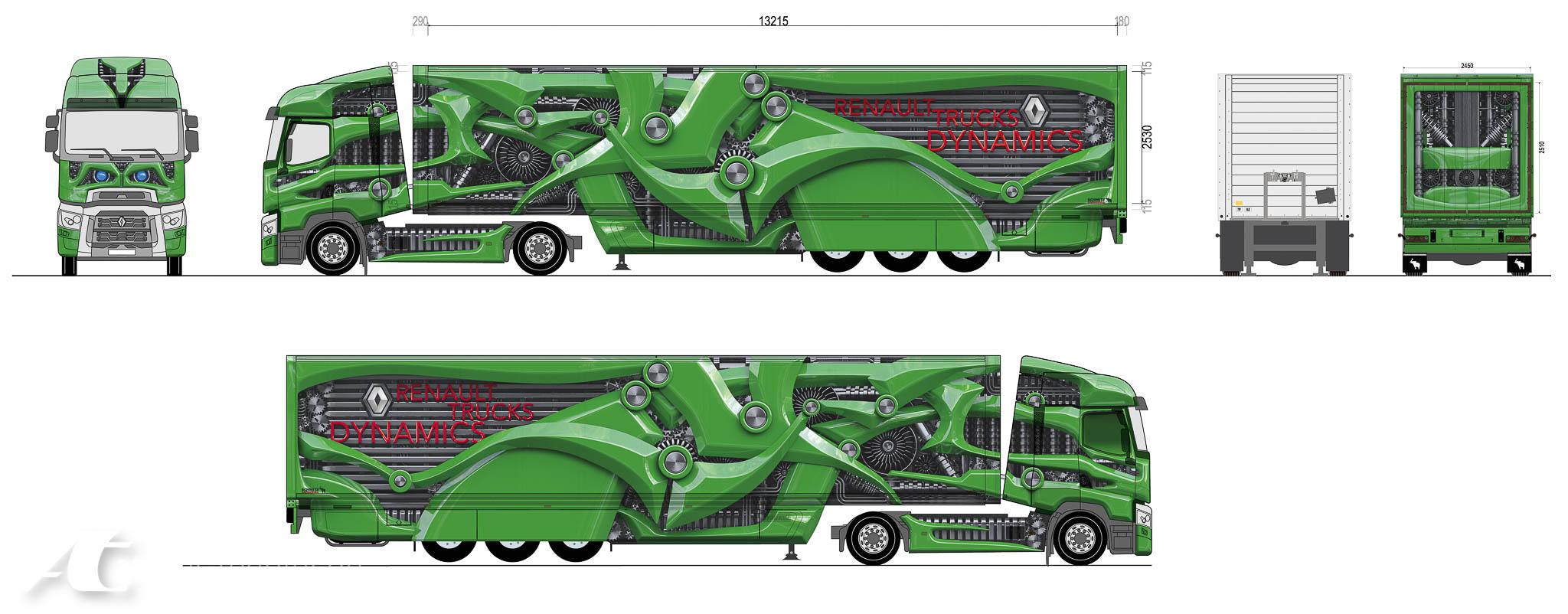 Truck-Design Druckvorlage für einen Renault LKW